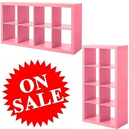 Amazon.com: Divided Shelf Unit 8-Tier Cubes Wooden Pink Floor ...