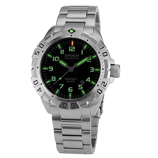 Época 6020 G B estilo correa de acero resistente al agua 100 m tubo de gas de tritio luminoso deporte buceo reloj de cuarzo: Amazon.es: Relojes