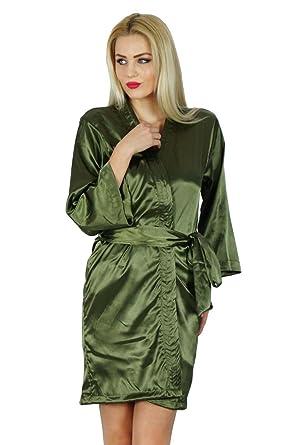 0df4437a74 Bimba Women Short Satin Getting Ready Robe Bridesmaid Kimono Sleeve Coverup