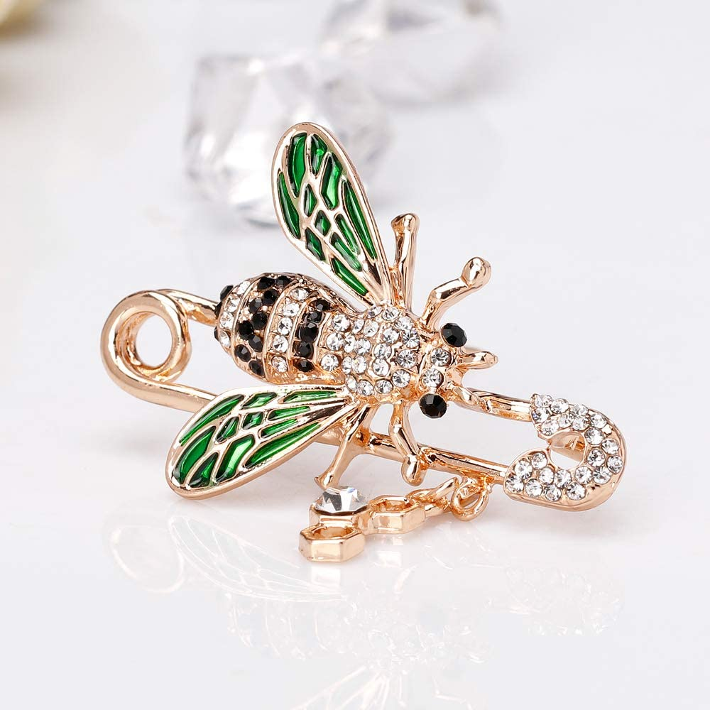 Soonvinia Honeybee Bee Enamel Brooches for Women Insect Safety Brooch Pins Gift for Women