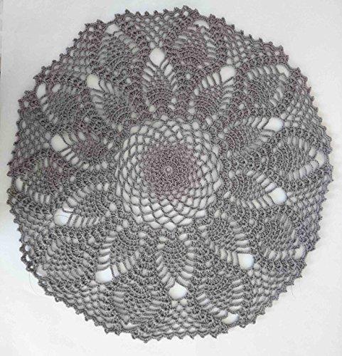 Handmade Crochet Grey Color Doily Pineapple Design Gray Round Tablecloth