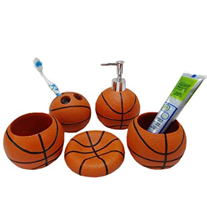 Gentil YOURNELO Basketball 5 Piece Bathroom Accessories Collection Set