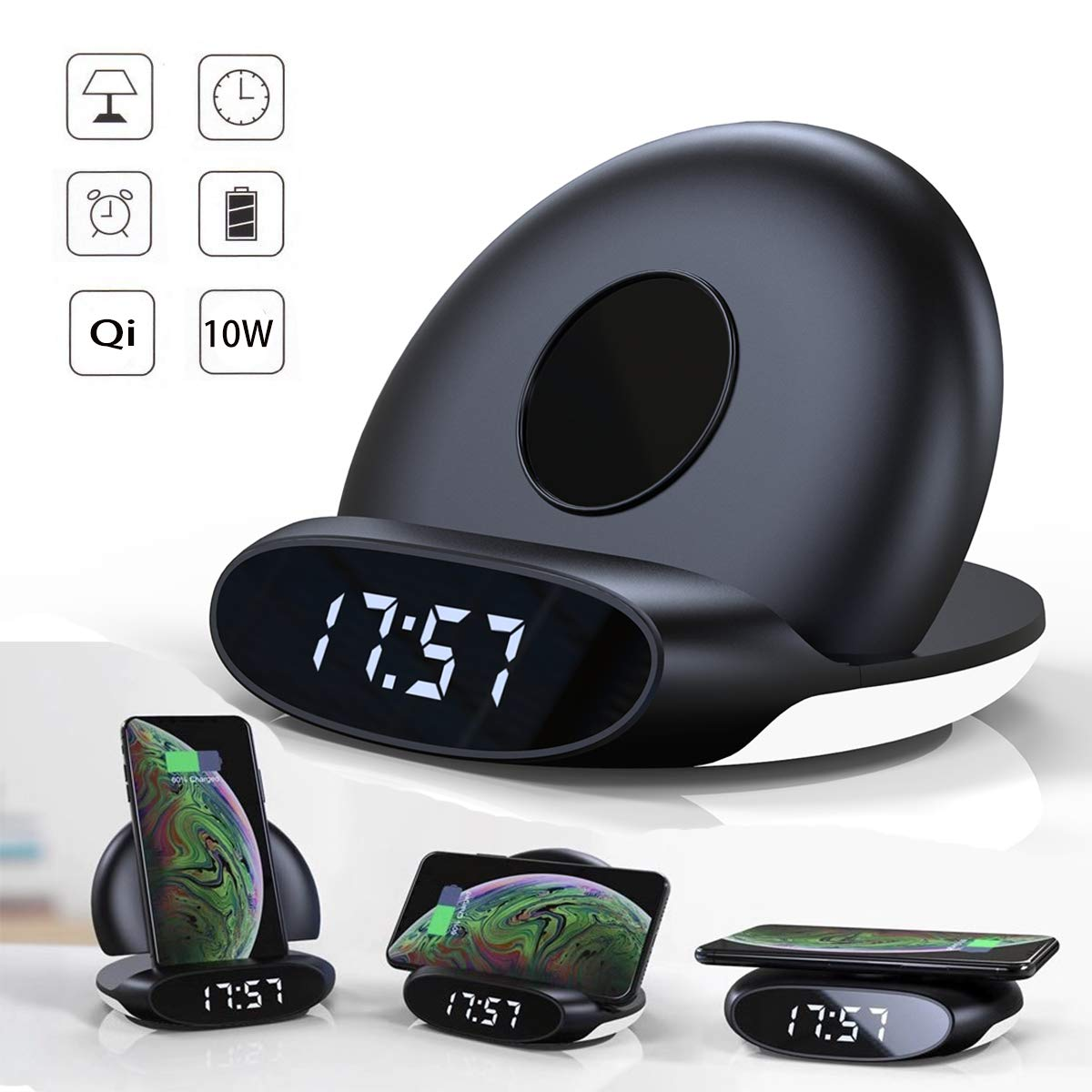 4 in 1 Foldable Wireless Charger[Alarm Clock&Night Light] Wireless Charging Stand/Pad Compatible for iPhone 11/11 Pro/11 Pro Max/XR/XS Max/XS/X/8 Plus Galaxy Note10/Note10 +Plus/ S10/S10 Plus/S9 Plus by JASGO
