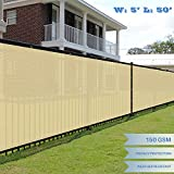 E&K Sunrise 5′ x 50′ Beige Fence Privacy Screen, Commercial Outdoor Backyard Shade Windscreen Mesh Fabric 3 Years Warranty (Customized Set of 1 For Sale
