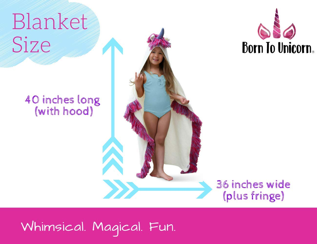Born To Unicorn Blanket for Girls- Hooded, Kids Pink, Purple Wearable Crochet Knit w/Hood Throw Blankets Wrap, Toddlers Cute Plush Knitted Hoodie, Soft Kids Blanket Gift, Cozy Magic Cloak w/Hood by Born To Unicorn (Image #4)