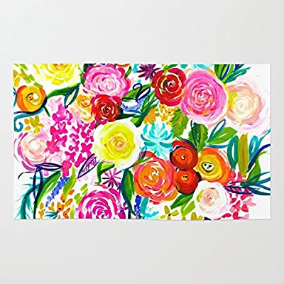 Society6 Bright Colorful Floral Painting Rug