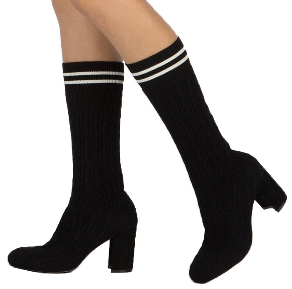Qupid Women's Cable Knit Sweater Stripe Sport Chunky Stacked Heel Sock Boot (7 B(M) US, Black)