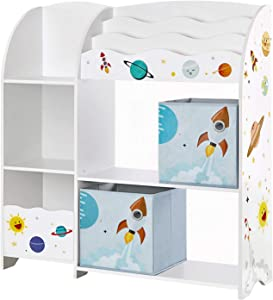 SONGMICS Kids' Toy and Book Organizer Storage Unit for Playroom, Children's Room, White