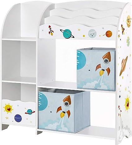 SONGMICS Organizador de Juguetes y Libros para Niños, Estantería de Almacenamiento Multifuncional con 2 Cajas, Gran Capacidad, Tema Universal, para ...