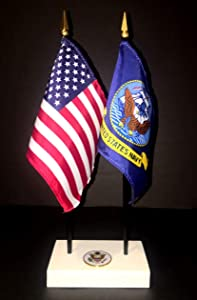 """Made in The USA. 1 American and 1 United States Navy Rayon 4""""x6"""" Office Desk & Little Table Flag Executive Set, Includes a 2-Hole White ArcticSno Flag Base with a USA Great Seal and Two Flags"""