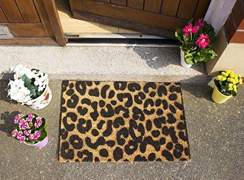 (CKB Ltd Leopard Print Novelty Doormat Unique Doormats Front/Back Funny Door Mats Made with A Non-Slip PVC Backing - Natural Coir - Indoor & Outdoor)