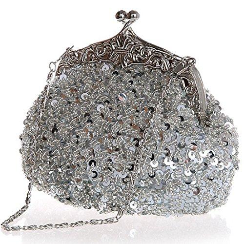 Clutch Sequin Wedding Belsen Evening Women's Silver Bags UBqwxHT