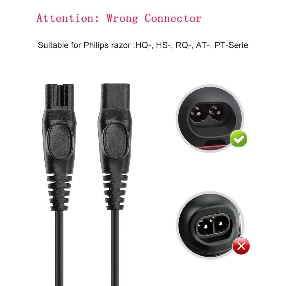 Aukru Cargador 15 V 500 mA alimentación Cargador para afeitadora eléctrica Philips PT920, PT860/16, PT720/17, PT860, PT927, PT923, PT919, PT739, ...