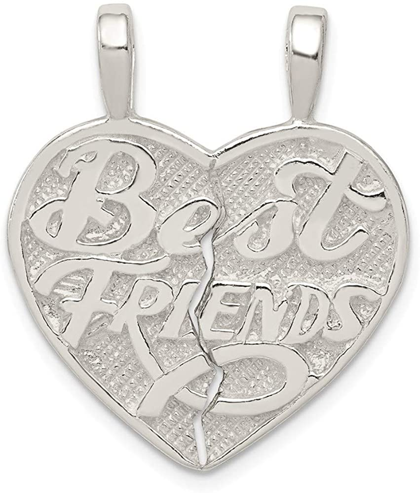 Mireval Sterling Silver Best Friend 2-Piece Break Apart Heart Charm on a Chain Necklace 16-20