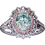 Powerfulline Exquisite Shiny Women Big Hollow Faux Topaz Rhinestone Party Jewelry Bridal Wedding Ring
