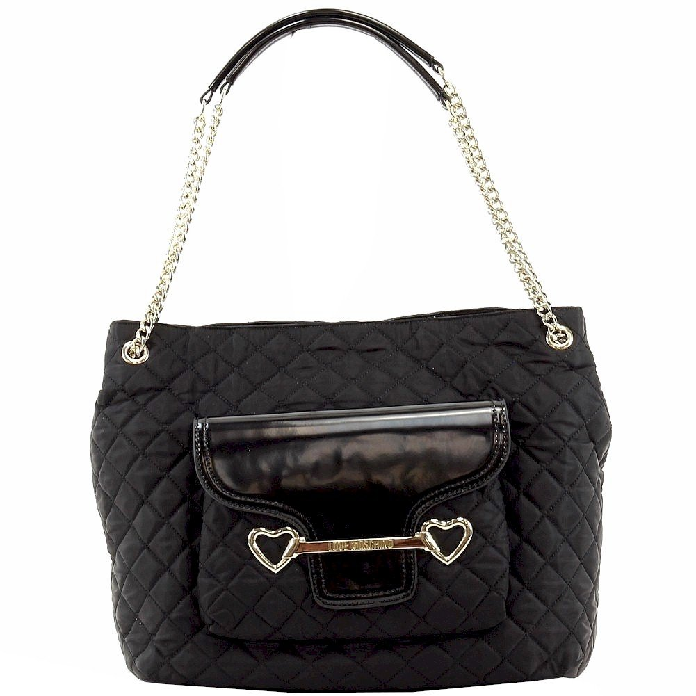 Love Moschino Women's Large Black Quilted Fabric Satchel Handbag
