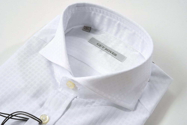 30b4eb5fe684 Amazon | ギローバー (GUY ROVER) ドレスシャツ ホリゾンタルカラー 織柄 長袖/コットン 100%【メンズ】【当店別注モデル】【40】【並行輸入品】  | シャツ 通販