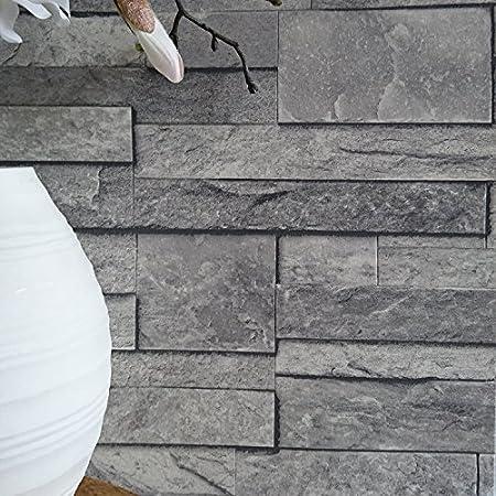 Split Face Tile Effect 3D Textured Faux Slate Stone Wallpaper In Grey Tones Sample