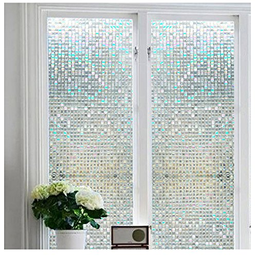 Window Film Non-Adhesive Self Privacy Static Cling Privacy Decorative Stained Glass Heat Control Anti UV for Living Room,Home,Bathroom,Office(17.7''x78.7'') by UooMay