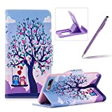 Leather Case for iPhone 7 Plus,Flip Wallet Cover for iPhone 8 Plus,Herzzer Stylish Owl Tree Pattern Magnetic Closure Purse Folio Smart Stand Cover with Card Cash Slot Soft TPU Inner Case for iPhone 7 Plus/iPhone 8 Plus 5.5 inch + 1 x Free Purple Cellphone Kickstand + 1 x Free Purple Stylus Pen