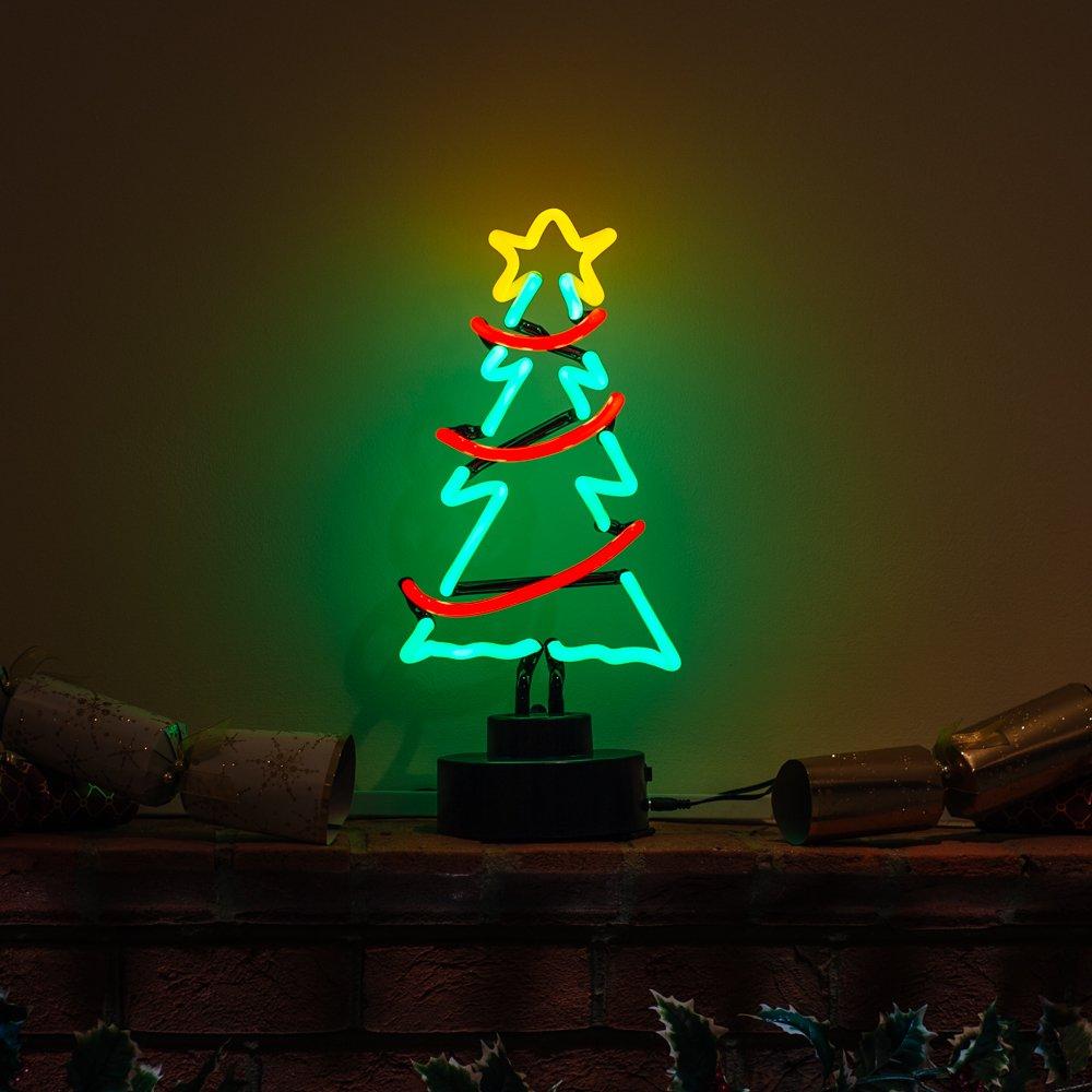 Icon Neon Weihnachtsbaum mit Girlande und Stern, echte Neonbeleuchtung, Rot