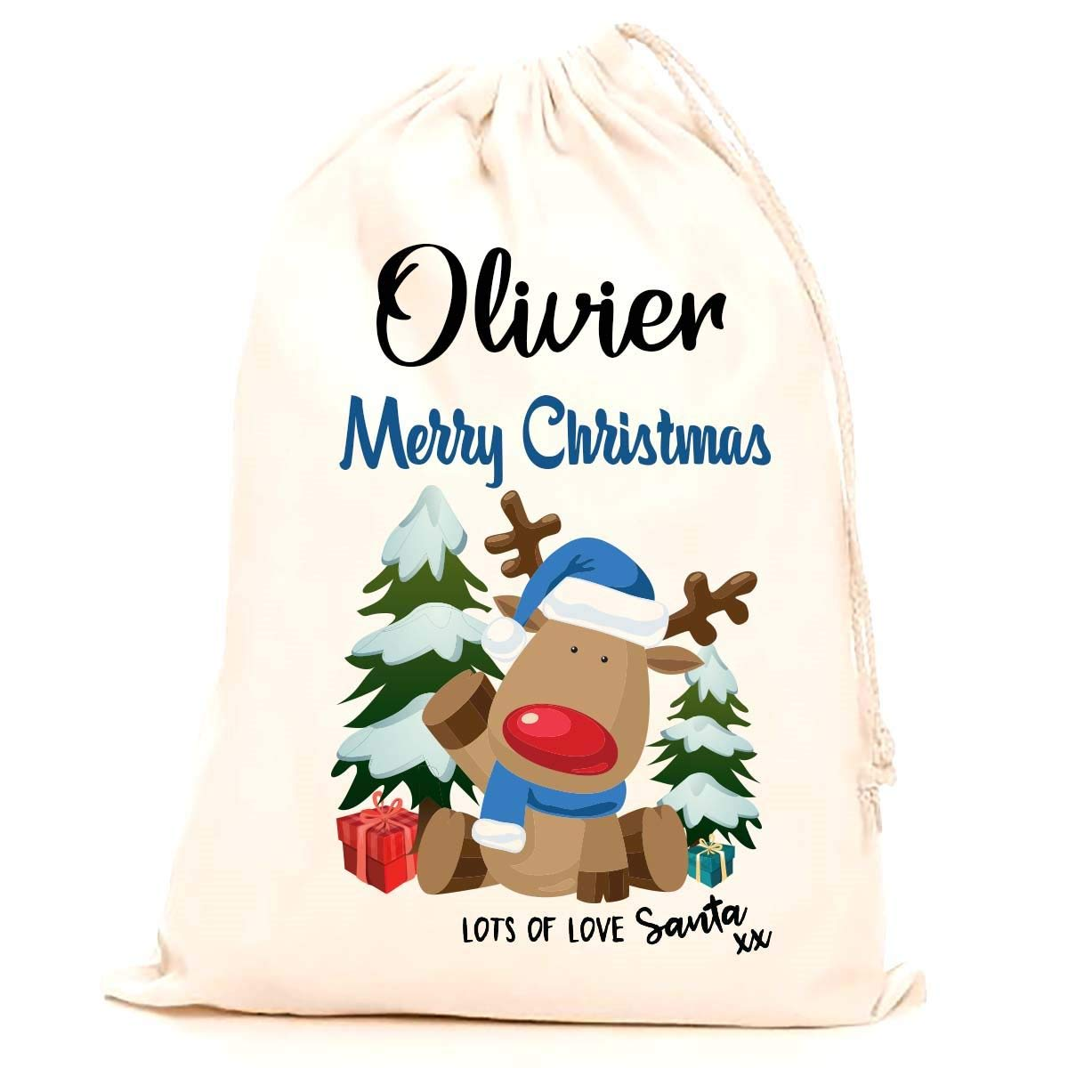 Treat Me Suite Olivier personalised name Christmas santa sack, stocking printed with a blue reindeer (75x50cm) 100% Cotton Large. Children, Kids, making it the perfect keepsake xmas gift/present. CS Printing Limited