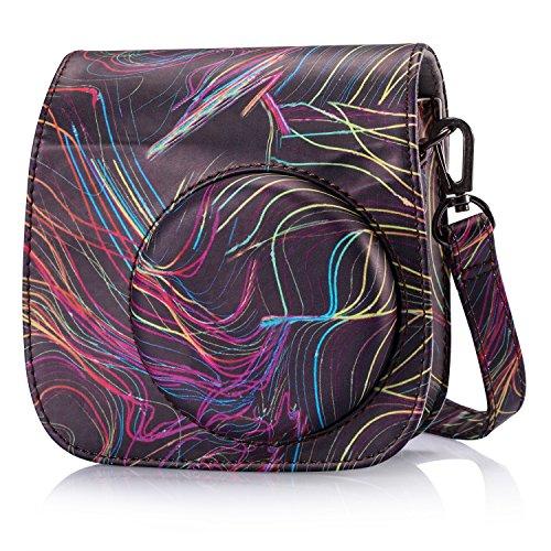Phetium Protective Case for Fujifilm Instax Mini 9 Mini 8 Mini 8+, Soft PU Leather Bag with Pocket and Removable Shoulder Strap (Ribbon)