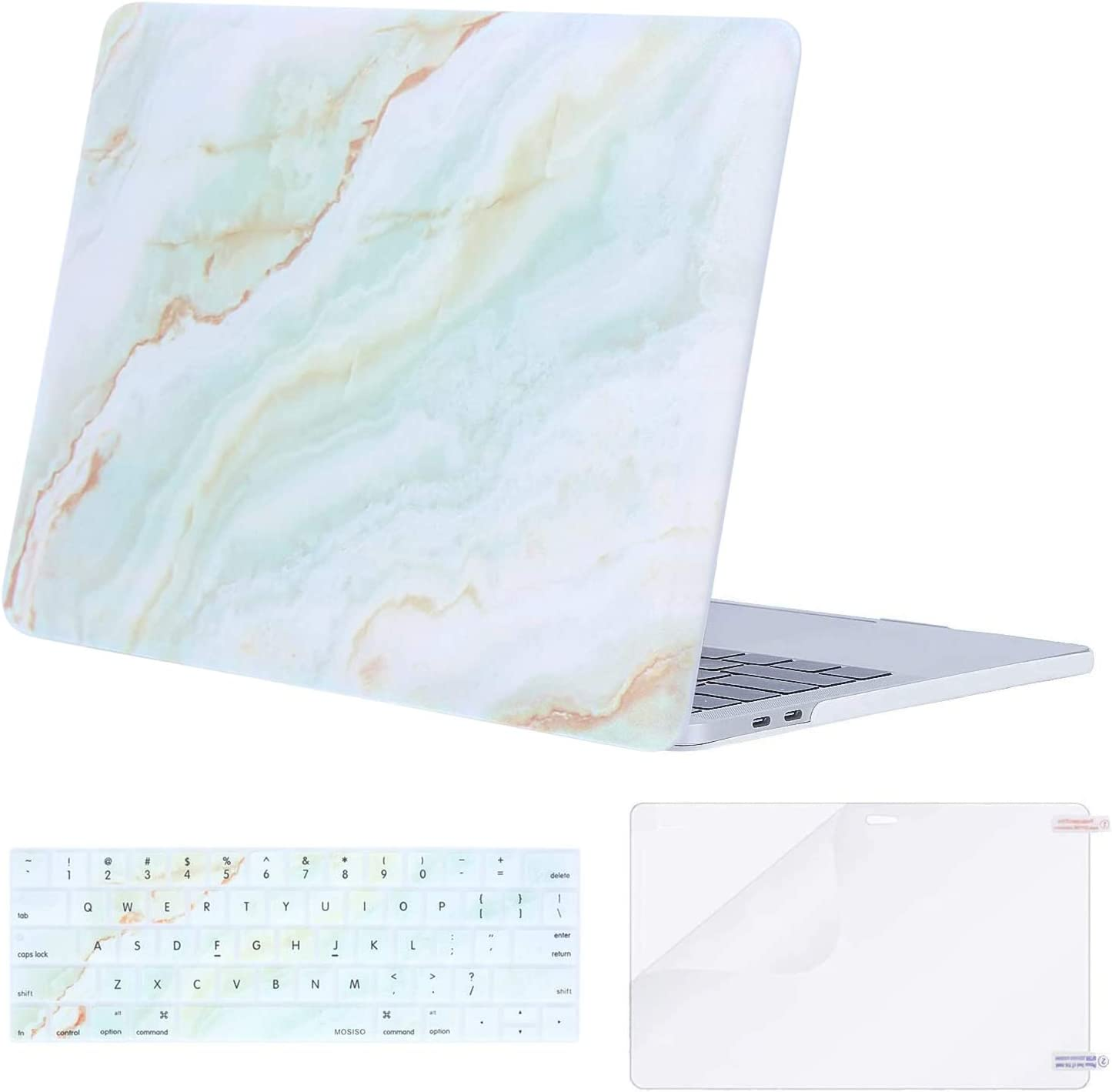 MOSISO MacBook Pro 13 inch Case 2019 2018 2017 2016 Release A2159 A1989 A1706 A1708, Plastic Pattern Hard Shell Case&Keyboard Cover&Screen Protector Compatible with MacBook Pro 13, White Green Marble