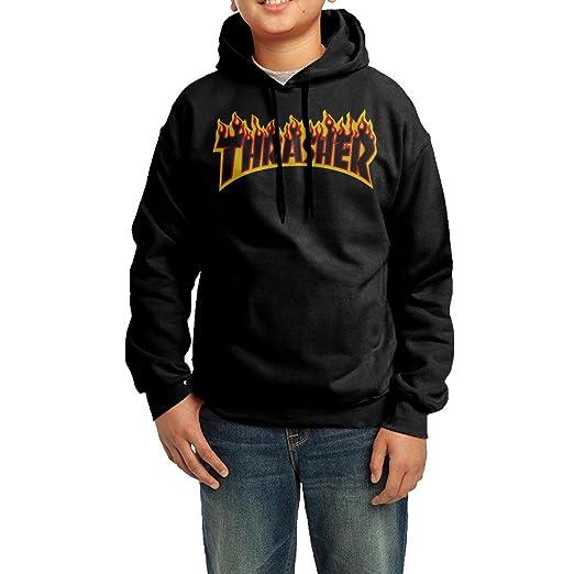 3c9d2cf71165 Kid s Youth Thrasher Magazine Flame Logo Hoodies Pullover Hooded Sweatshirts  M Black
