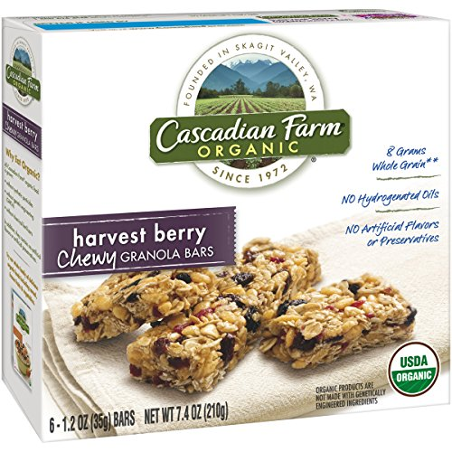Cascadian Farm Snacks Organic Harvest Berry Chewy Granola Bars, 6 Count (Pack of 2)