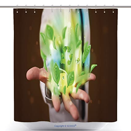 Vanfan Polyester Shower Curtains Young Business Man In Suit Presenting Eco Green Leaf Recycle Energy