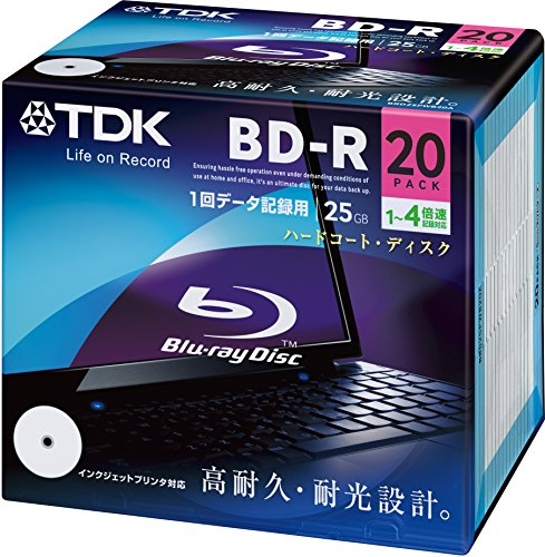 TDK Blu-ray BD-R Disk for PC Data | 25GB 4x Speed 20 Pack (Japanese Import) by TDK
