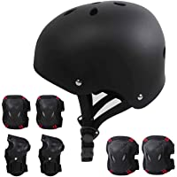 Kids Protective Gear Set - Age 5-11 - Adjustable Helmet, Knee Pads, Elbow Pads, Wrist Guard, for Skateboard, Bike, Skates, Scooters, and Rollerblades