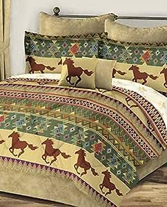 Western horses southwest aztec brown gold full comforter for Southwest beds