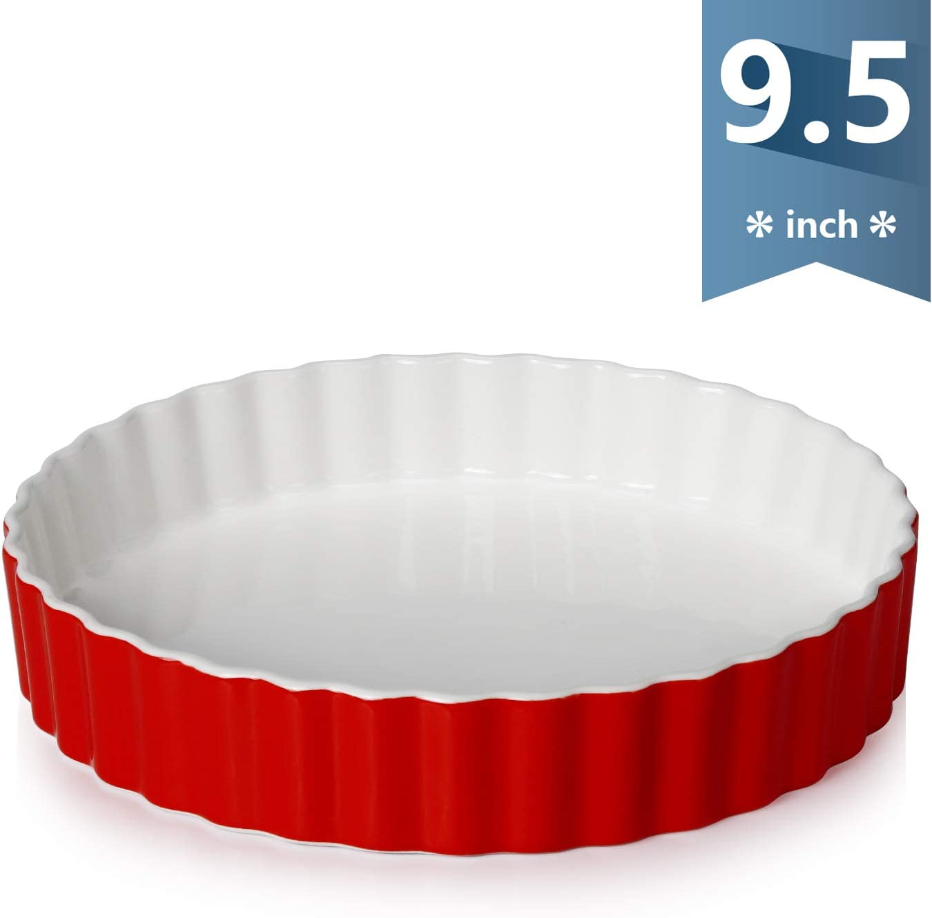 Sweese 515.104 Porcelain Tart Pan 9.5 Inches Quiche Dish Baking Pan, Round, Red