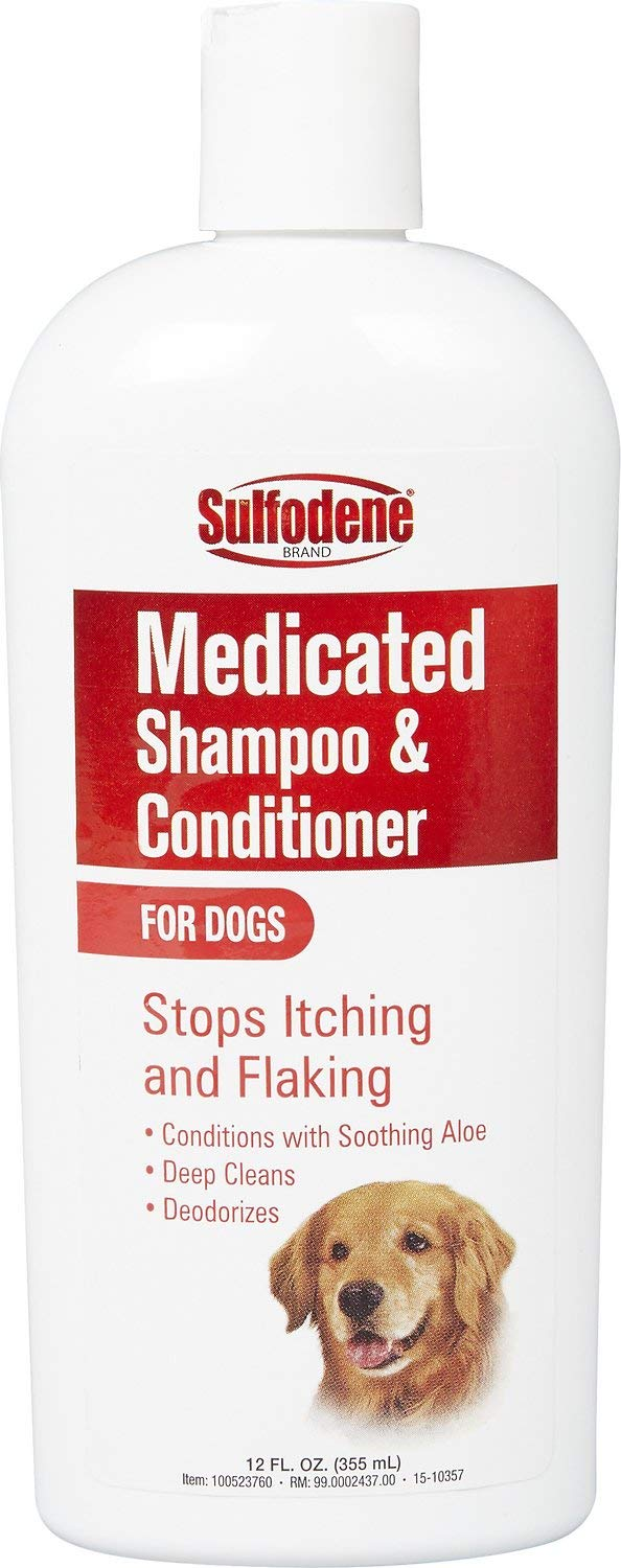 Vet Medicated Dog Shampoo and Conditioner Stops Itching, Flaking - 12-oz