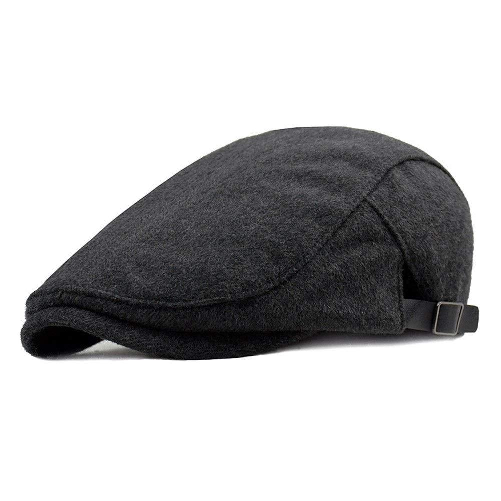 Jun7L Home Mens Flat Cap Duckbill Hat Driving Cap Beret Newsboy Cap Cap Winter Hat Home Color : Grey, Size : 56-59cm