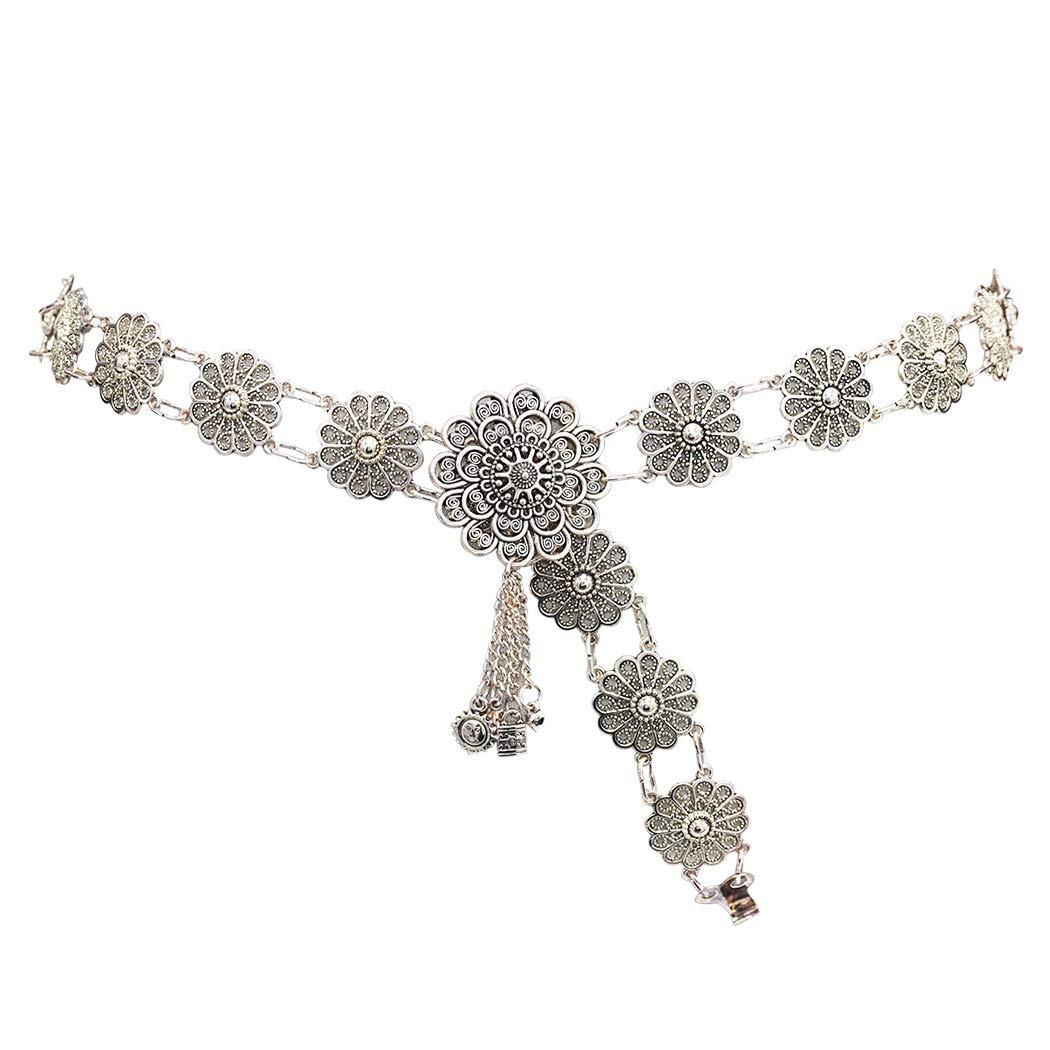 Idealway Bohemian Vintage Body Chain Silver Sun Flower Pendant Necklace Belt Chain Women Jewelry
