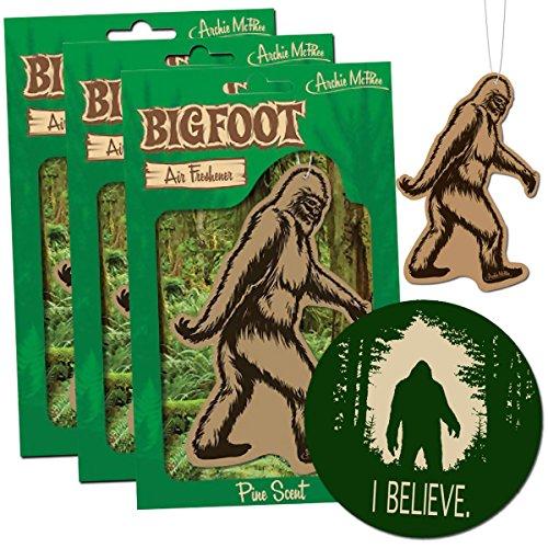 [3 Bigfoot Air Freshener & I Believe Sticker Decal - for Car RV Trailer Tent - Best Gift for Bigfoot Lover!] (Pine Tree Air Freshener Costume)