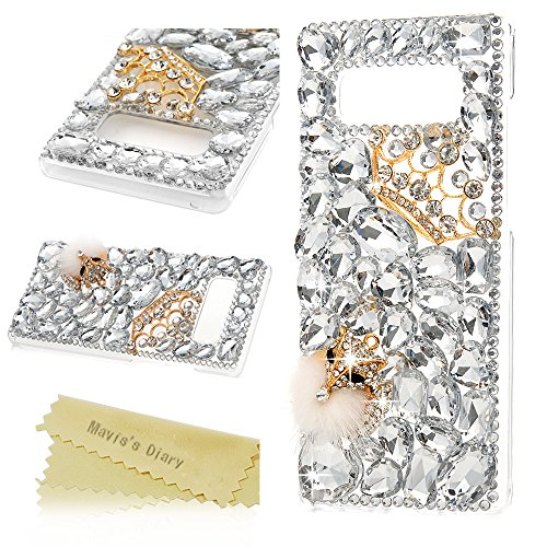 Mavis's Diary Note 8 Case, Luxury 3D Handmade Bling Crystal Rhinestone Full Diamonds White Gems Crown and Fox with Fluff Hard PC Plastic Clear Protective Cover for Samsung Galaxy Note (Note Rhinestone)
