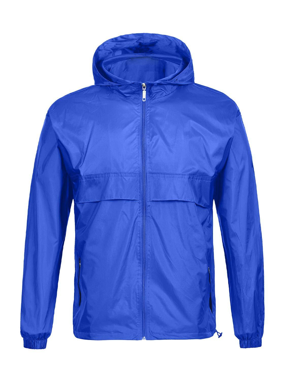 SWISSWELL Men's Lightweight Rain Jacket Waterproof Hooded Rainwear SkyBlue,XXL by SWISSWELL