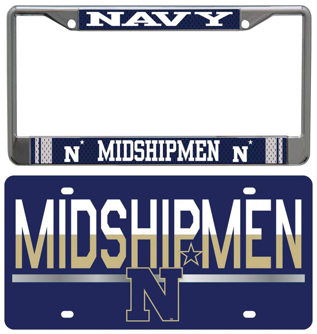 WinCraft アメリカ海軍アカデミー海軍 海軍 中間船員 ナンバープレートフレームとナンバープレートギフトセット