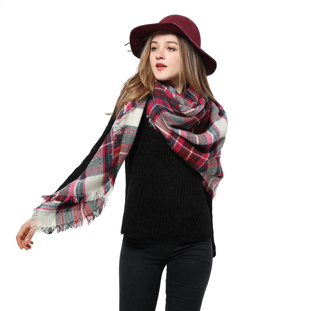 Plaid Scarfs for Women Big Grid Winter Lattice Large Scarf Checked Blanket Scarf