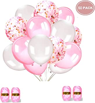 5 Stück Luftballons Happy Birthday Latexballons Rosa//Weiß für Geburtstag 30cm Ø