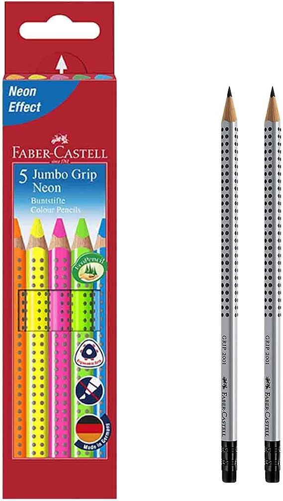 Faber-Castell 110994 Buntstifte Jumbo Grip Neon 5er Etui 1, inkl. 2 Bleistiften