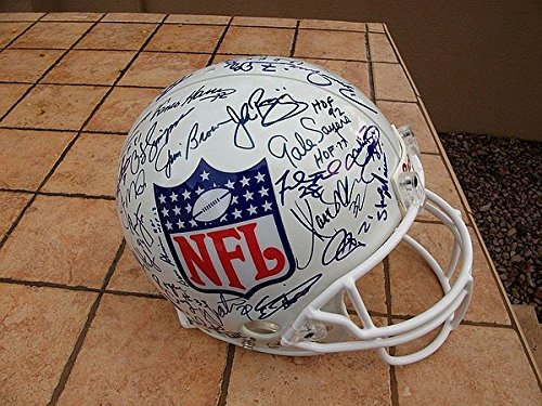 Joe Montana Jim Brown & 48 Others Signed Nfl Shield Football Helmet JSA Loa ()