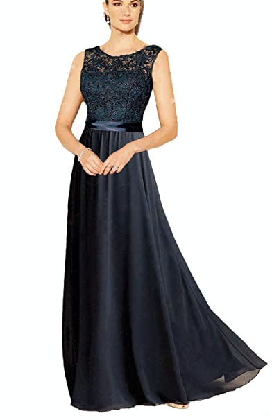 25bb96ef679 WTW Women s Long Lace Chiffon Formal Evening Party Gown Bridesmaid Dress -Black-6