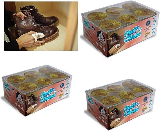 Pufai Puff Clean Toallitas de limpieza de cuero para limpiar reparación Zapatos Chaqueta Billetera Pantalones 72 cápsulas en 3 cajas: Amazon.es: Hogar