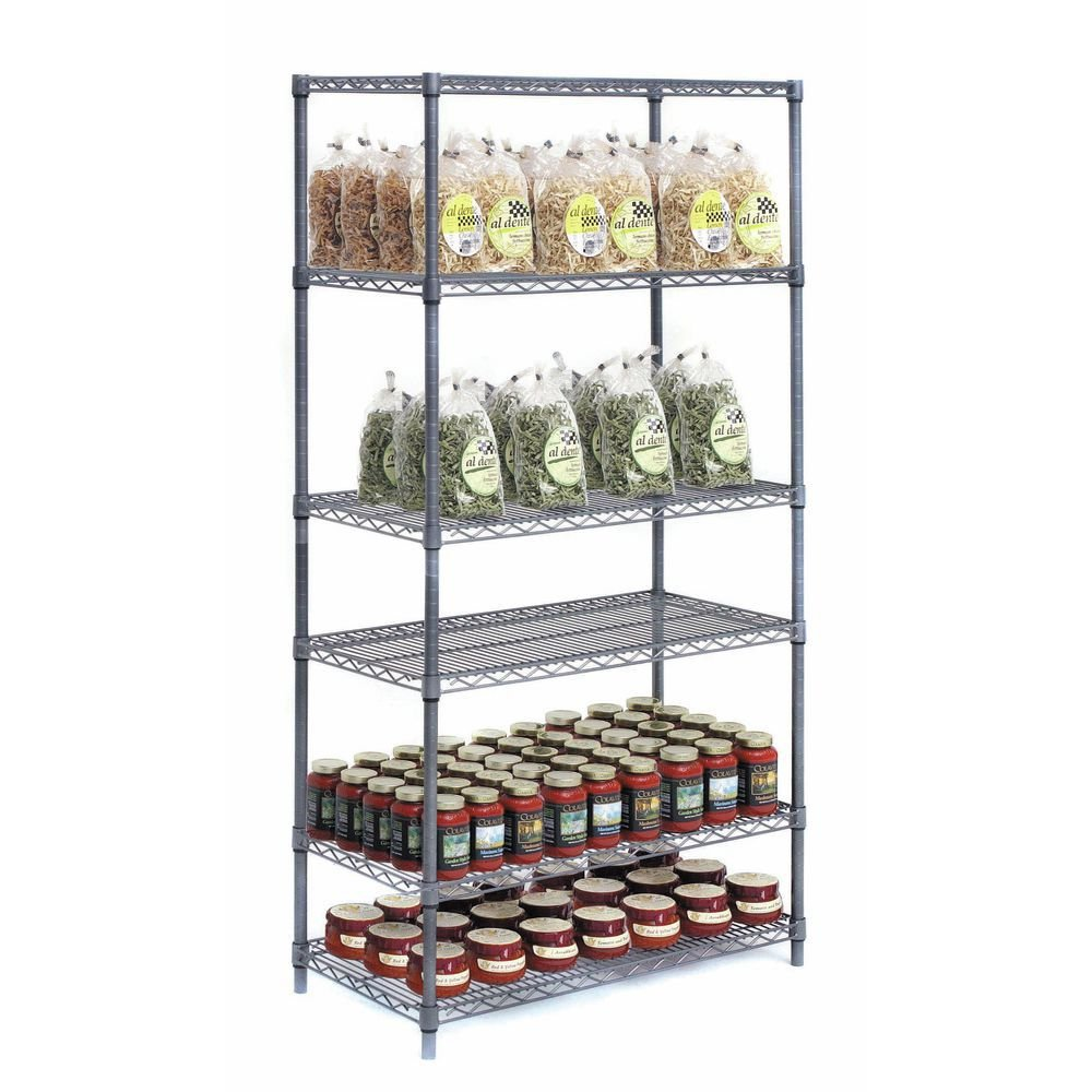 HUBERT Flint Metal 4-Shelf Unit - 60''L x 24''W x 74''H