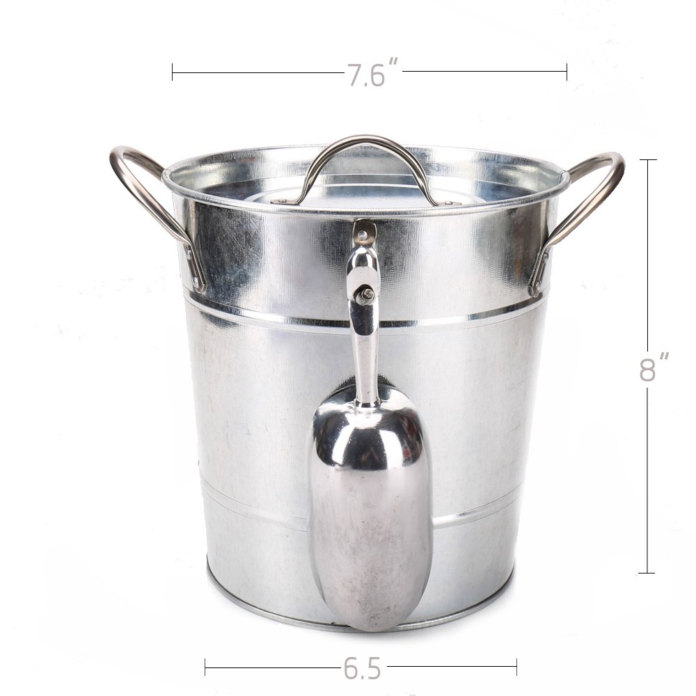 Hot Sale T586 4L Silver Metal Galvanized Double Walled Ice Bucket Set With Lid And Scoop by Home by Jackie Inc (Image #1)